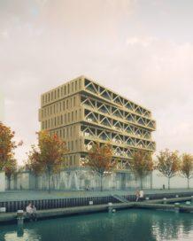 Dertig meter hoog houten gebouw