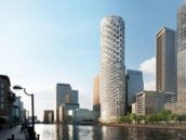Canary Wharf in aanbouw