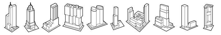 Tien gebouwen