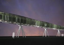 Tijdelijke passagiersbrug Rotterdam door Tom David Architecten