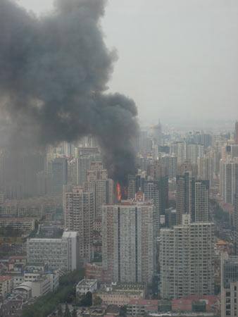 Wolkenkrabber Shanghai in brand