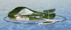 Drijvende villa van gerecycled rivierafval