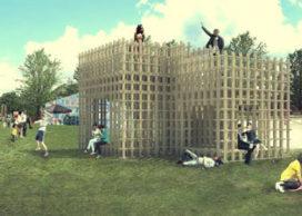 Kunstwerk Noorderzonfestival in opbouw