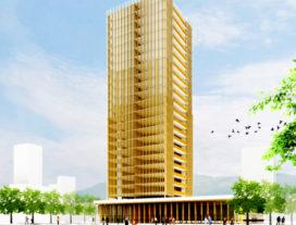 Houten wolkenkrabber van dertig etages