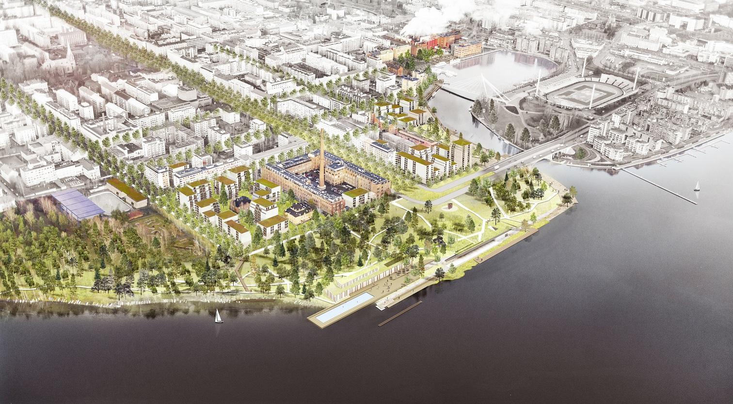 Vogelvlucht Karres en Brands Rijnboutt uit de ontwerpwedstrijd Tampere, Finland