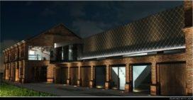Laatste gebouw C-Mine-site baadt in sfeervol licht