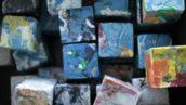 Bouwblokken van plastic afval