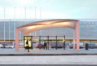 Maxwan Duurzame overkappingen busstation. Foto Filip Dujardin