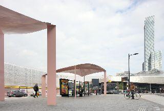 Duurzame overkappingen busstation Rotterdam. Foto Filip Dujardin