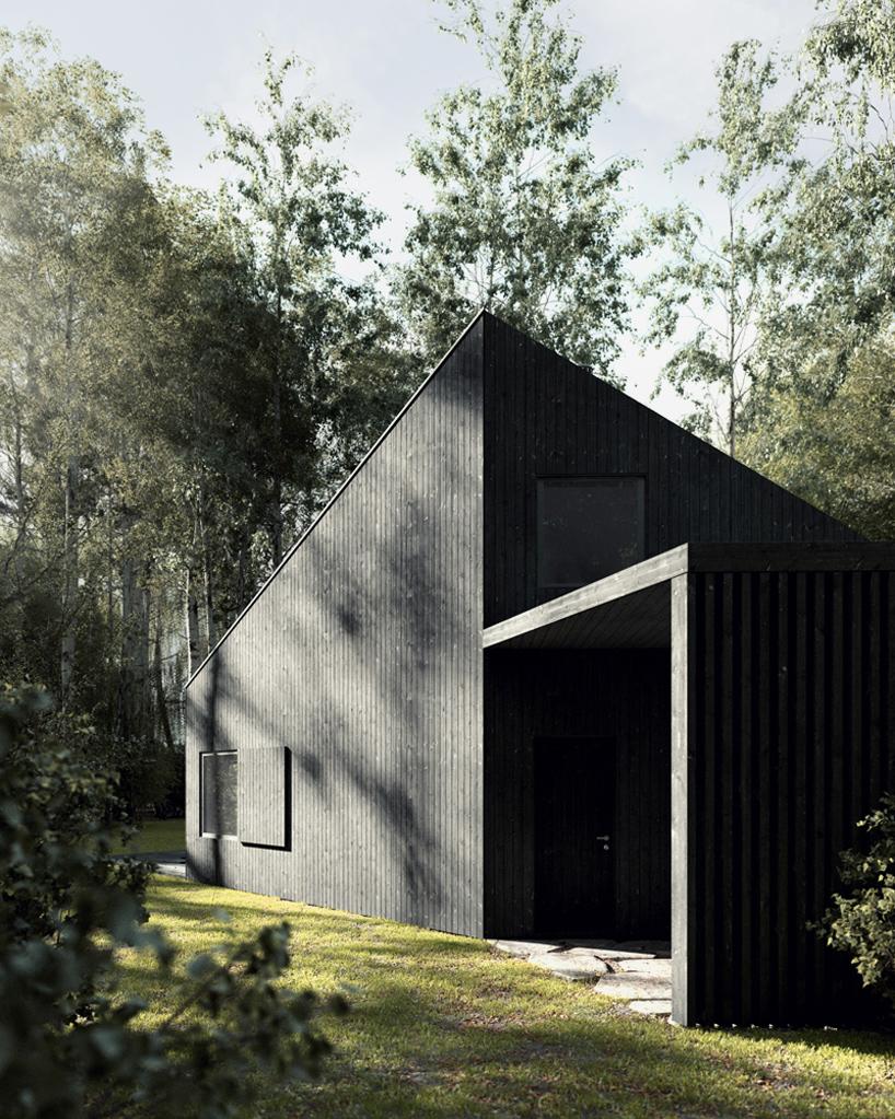 Zwart landhuis in Polen door też architekci
