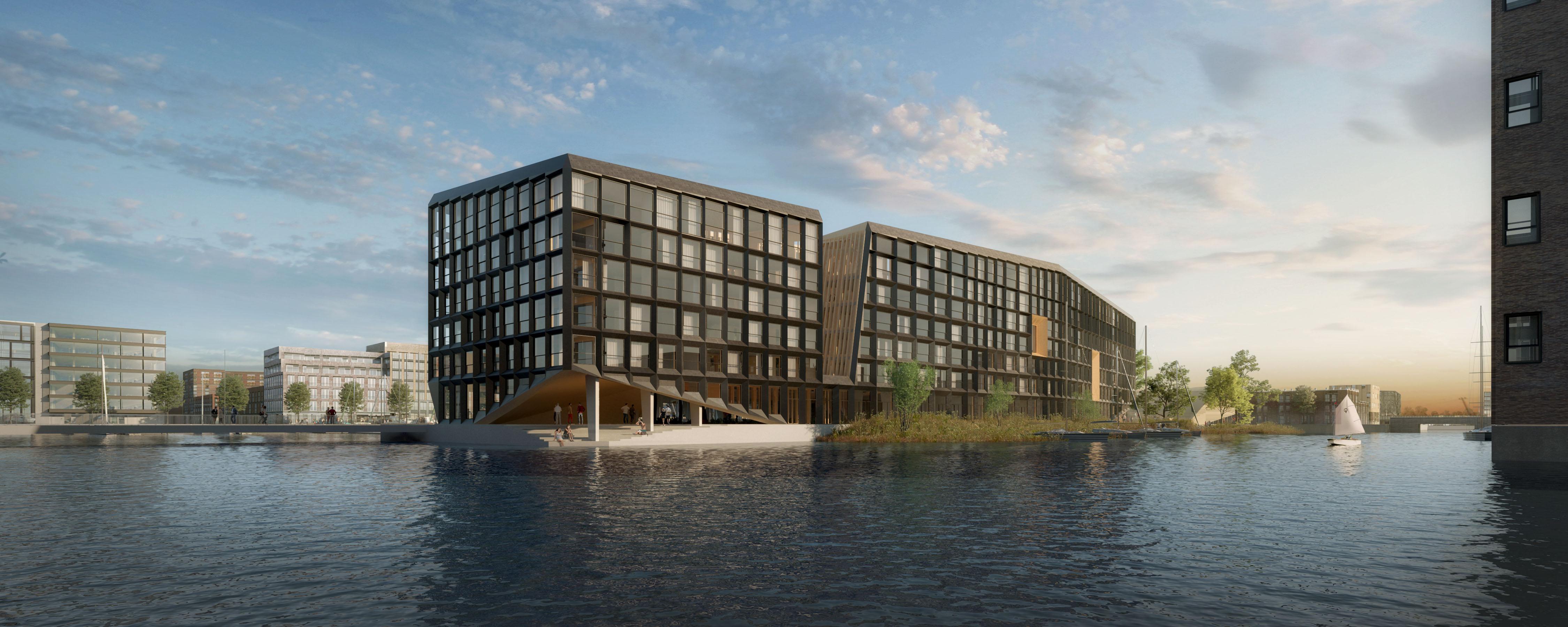 <p>Zicht vanaf het noorden. Het gebouw krijgt na oplevering het hoogst haalbare duurzaamheidscertifi caat (Breeam outstanding). </p>