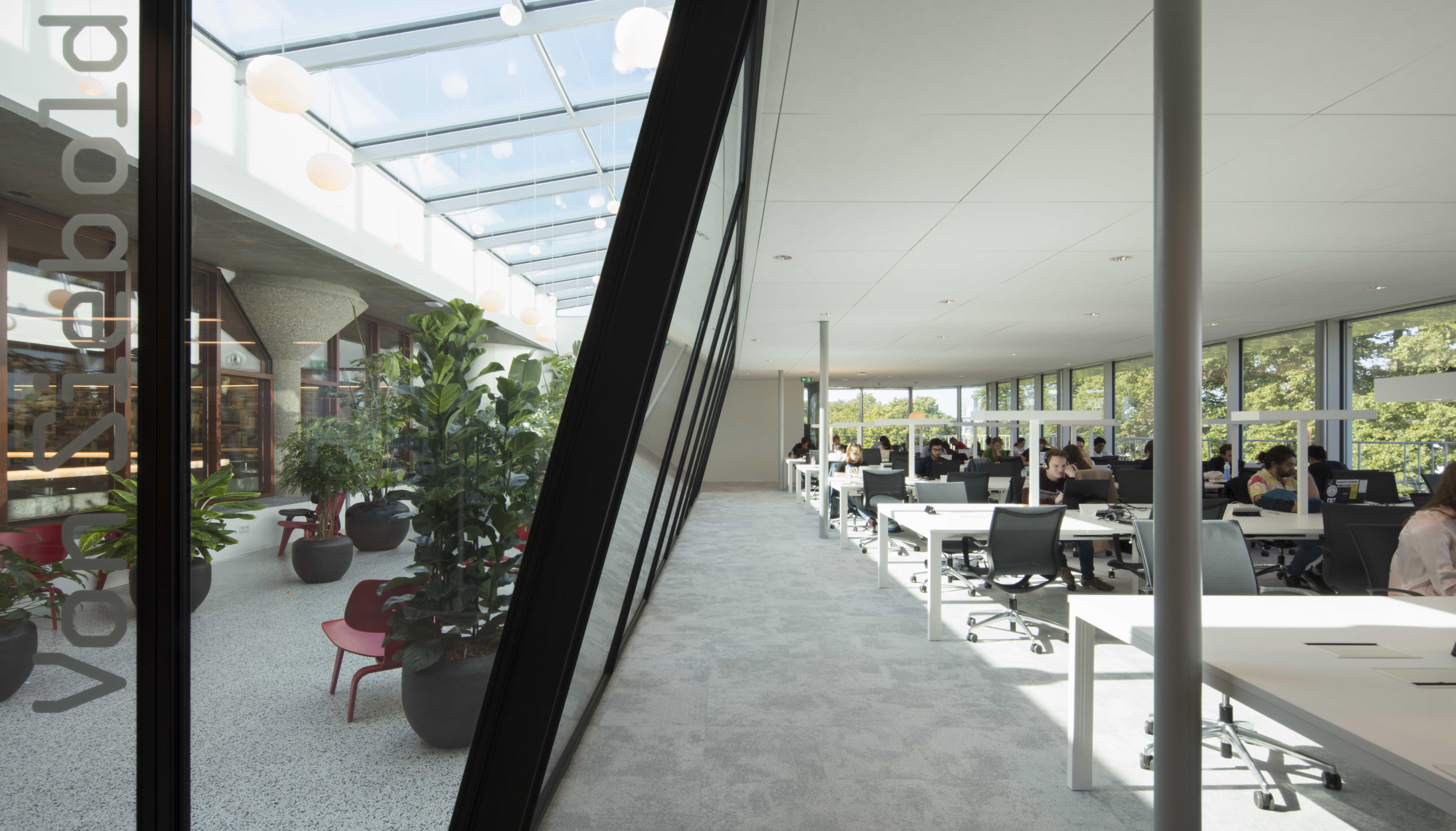 <p>Serre en werkplekken in de Asian Library universiteitsbibliotheek Leiden. foto: Jeroen Musch</p>