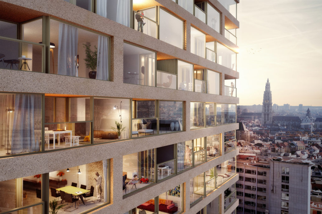 Antwerp-Tower transformeert naar woontoren door Wiel Arets Architects