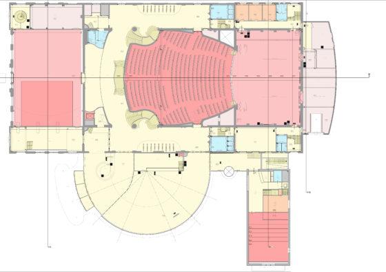 Tekening - Restauratie en uitbreiding Schouwburg Kunstmin - Bestaande plattegrond