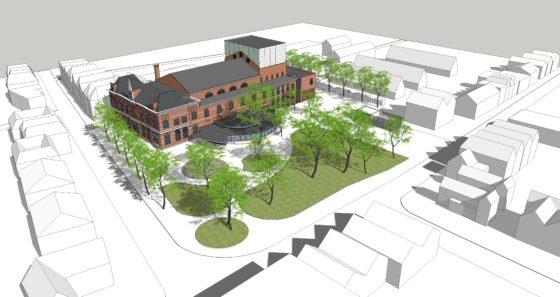 Tekening - Restauratie en uitbreiding Schouwburg Kunstmin - Nieuw perspectief