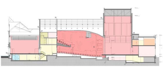 Tekening - Restauratie en uitbreiding Schouwburg Kunstmin - Nieuwe doorsnede