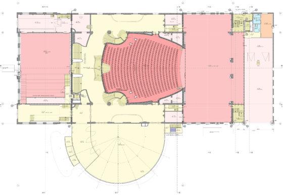 Tekening - Restauratie en uitbreiding Schouwburg Kunstmin - Nieuwe plattegrond