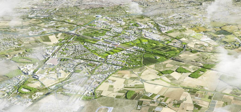 OZ Nature Urbaine is het ontwikkelingsgebied rondom het toekomstige TGV station in het zuiden van de Franse stad Montpellier. KCAP ontwierp tussen 2012 en 2014 een framework van openbare ruimten waarvan het landschap de drijfveer is en waarin de infrastructuur van TGV en autoweg is geïntegreerd. Beeld KCAP