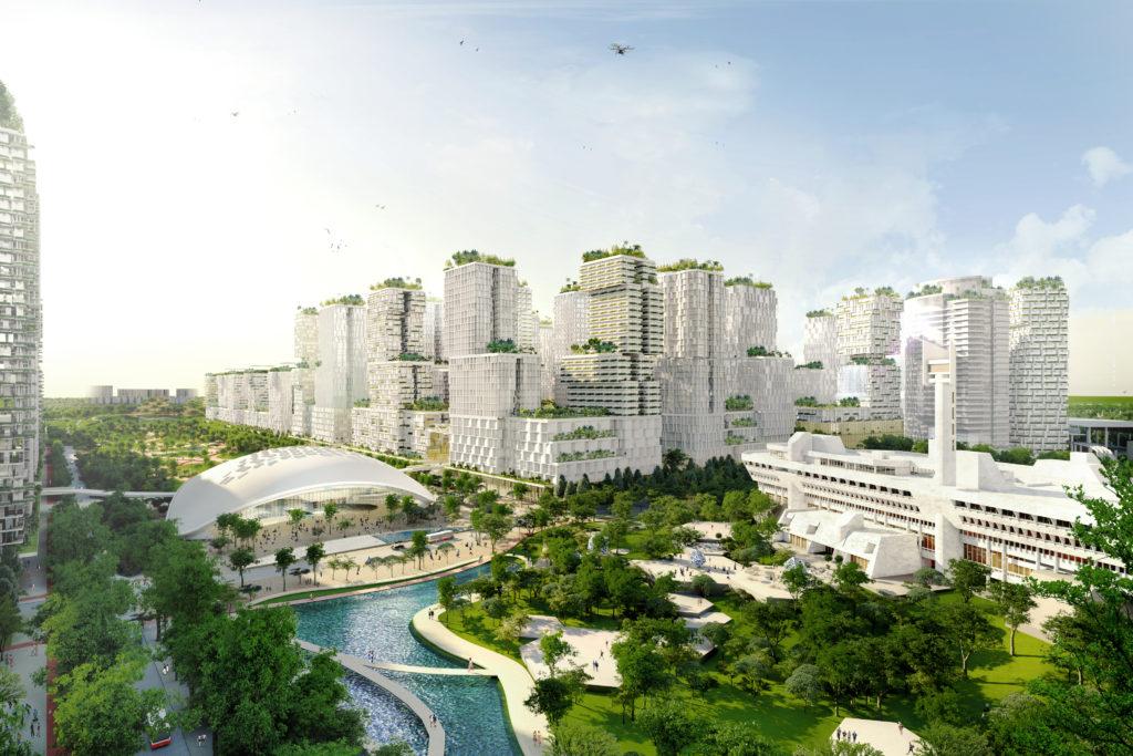 Het Jurong Lake District in Singapore wordt door KCAP in samenwerking met SAA, Arup, S333 en Lekker ontwikkeld tot een gemengd zakelijk gebied rondom de toekomstige hogesnelheidslijn tussen Kuala Lumpur en Singapore. Kenmerkend zijn de hoge dichtheid en het gemengde programma waarin nieuwe waterwegen en doorlopende stedelijk groenverbindingen zijn opgenomen. Beeld KCAP-SAA-Arup-S333