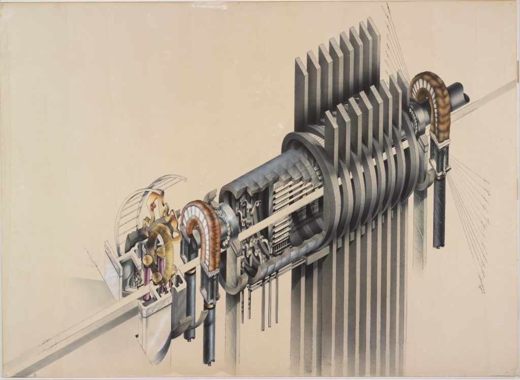 Jeremie Frank, The Macrophone, 1981 Technical pen and ink, airbrush and ink, collage and graphite underdrawing on paper board 81 x 111.4 cm, From the Collection of the Alvin Boyarsky Archive image Jeremie Frank