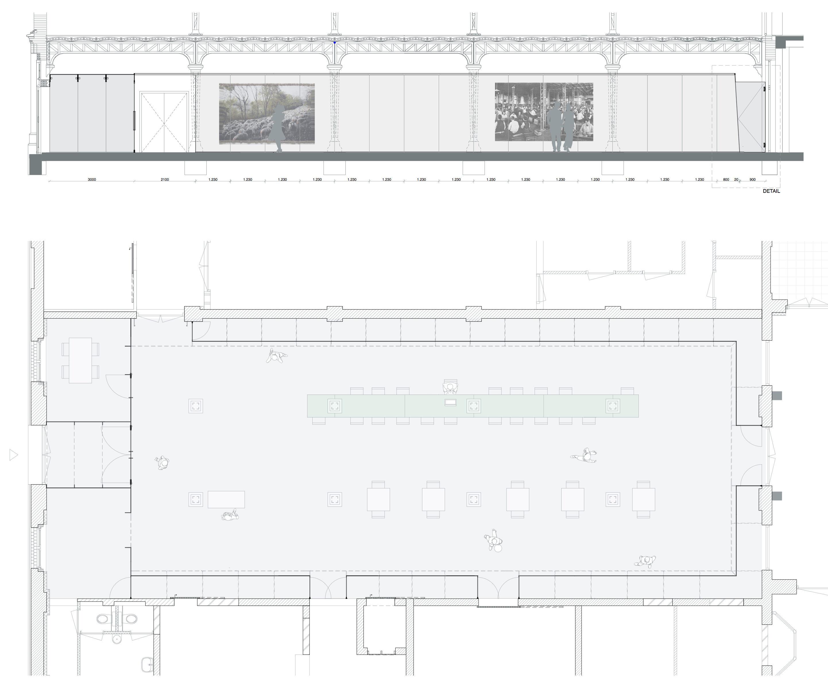 <p>doorsnede en plattegrond Spiegelzaal, beeld RESET Architecture</p>