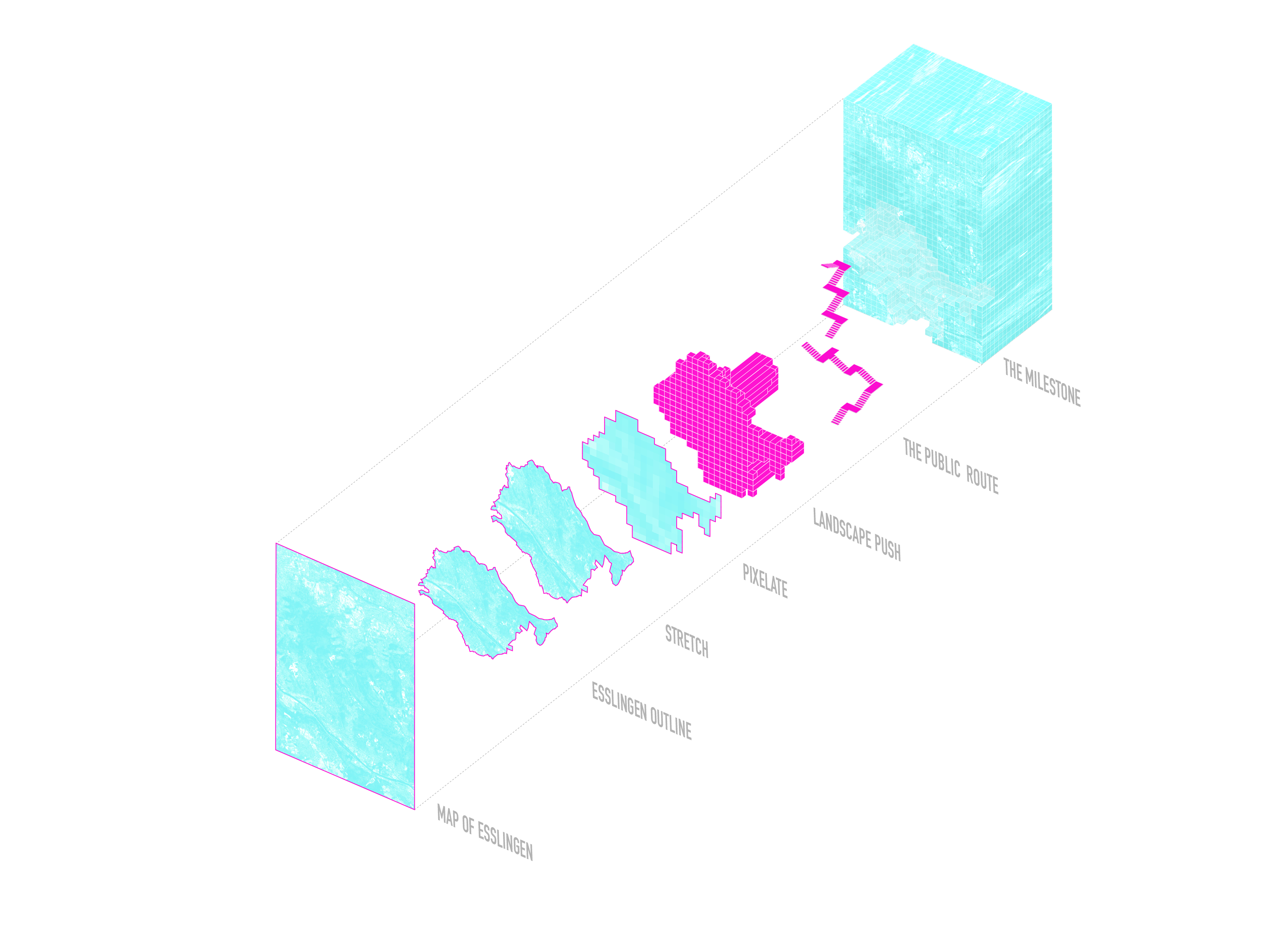 <p>Het volume van de gebouwen wordt naar binnen geduwd om een gefrafmenteerde interieurkern te creëren die een openbare loopbrug vormt</p>