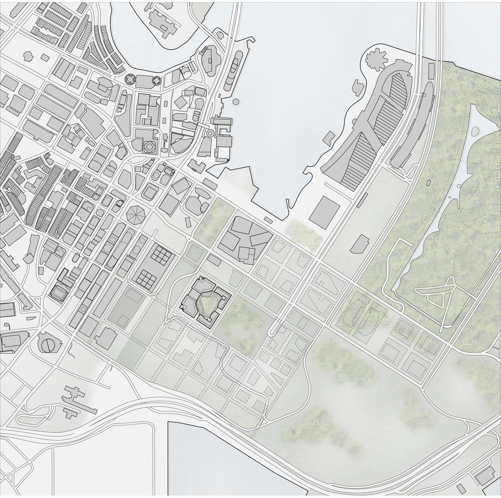 <p>Rond de locatie komt een gebied met grote blokken tot ontwikkeling</p>