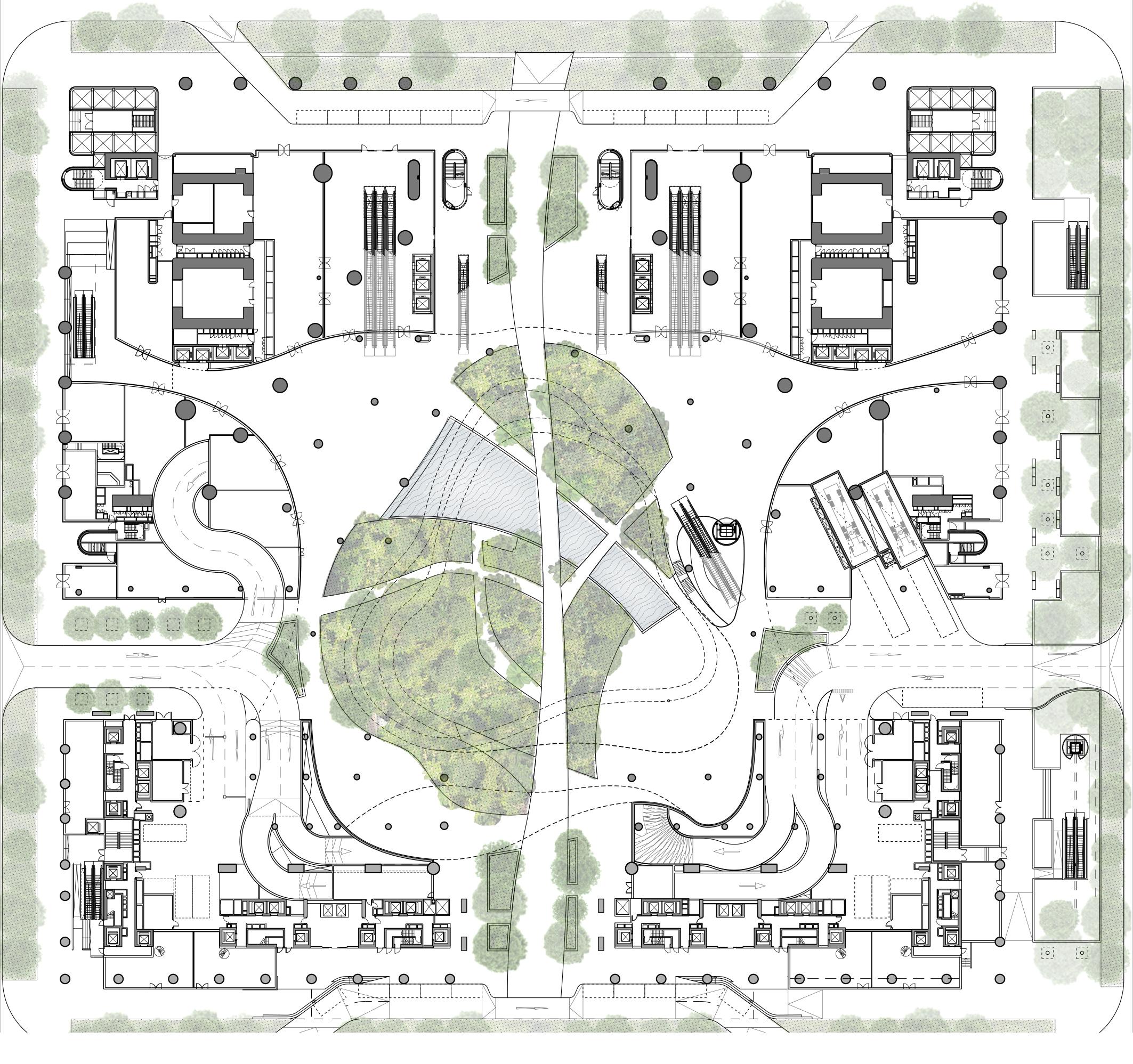 <p>Begane grond met park, publieke functies en entrees naar woningen, kantoren en parkeergarage</p>