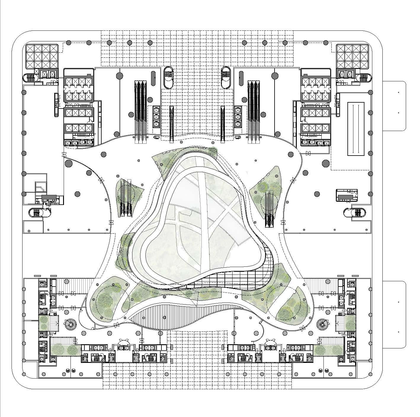 <p>Eerste verdieping met voortzetting park en publieke functies zoals horeca en winkels</p>