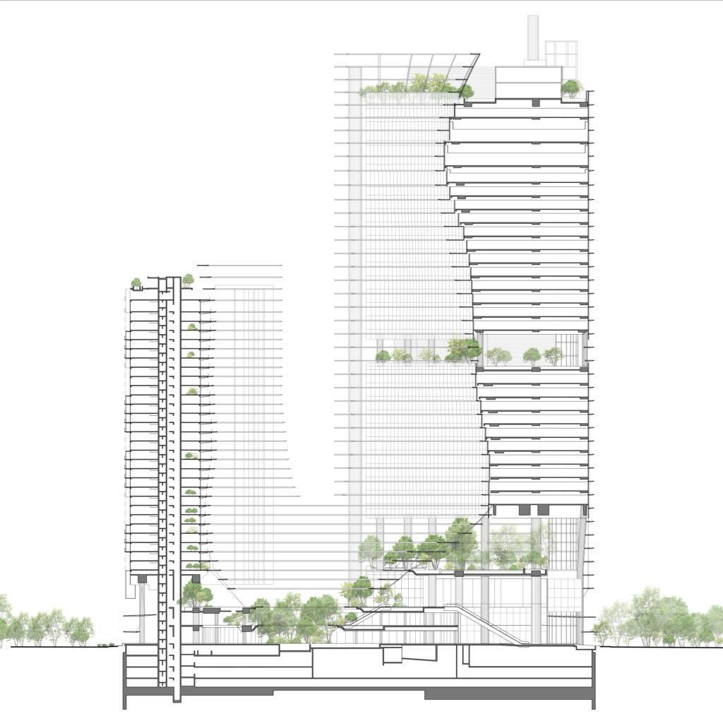 Marina One Singapore door Ingenhoven Architects. Designsketch_by_Christoph_Ingenhoven