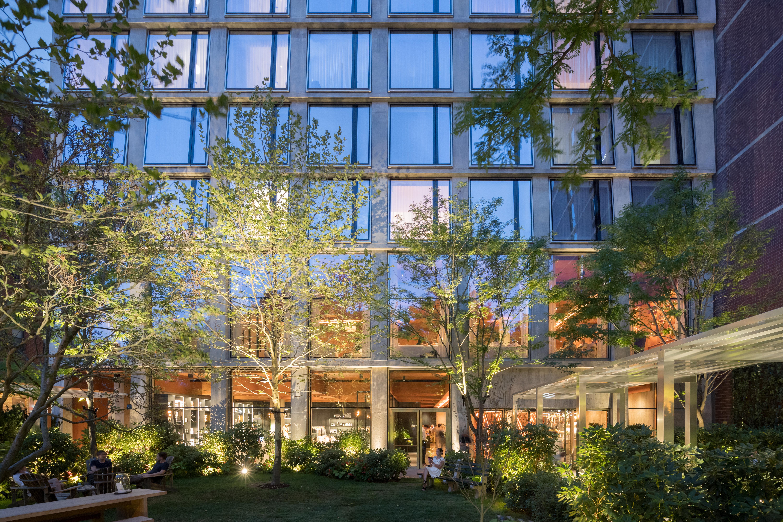 <p>Tussen hotel en straat is een door Madison Cox ontworpen tuin ingericht Beeld Iwan Baan</p>