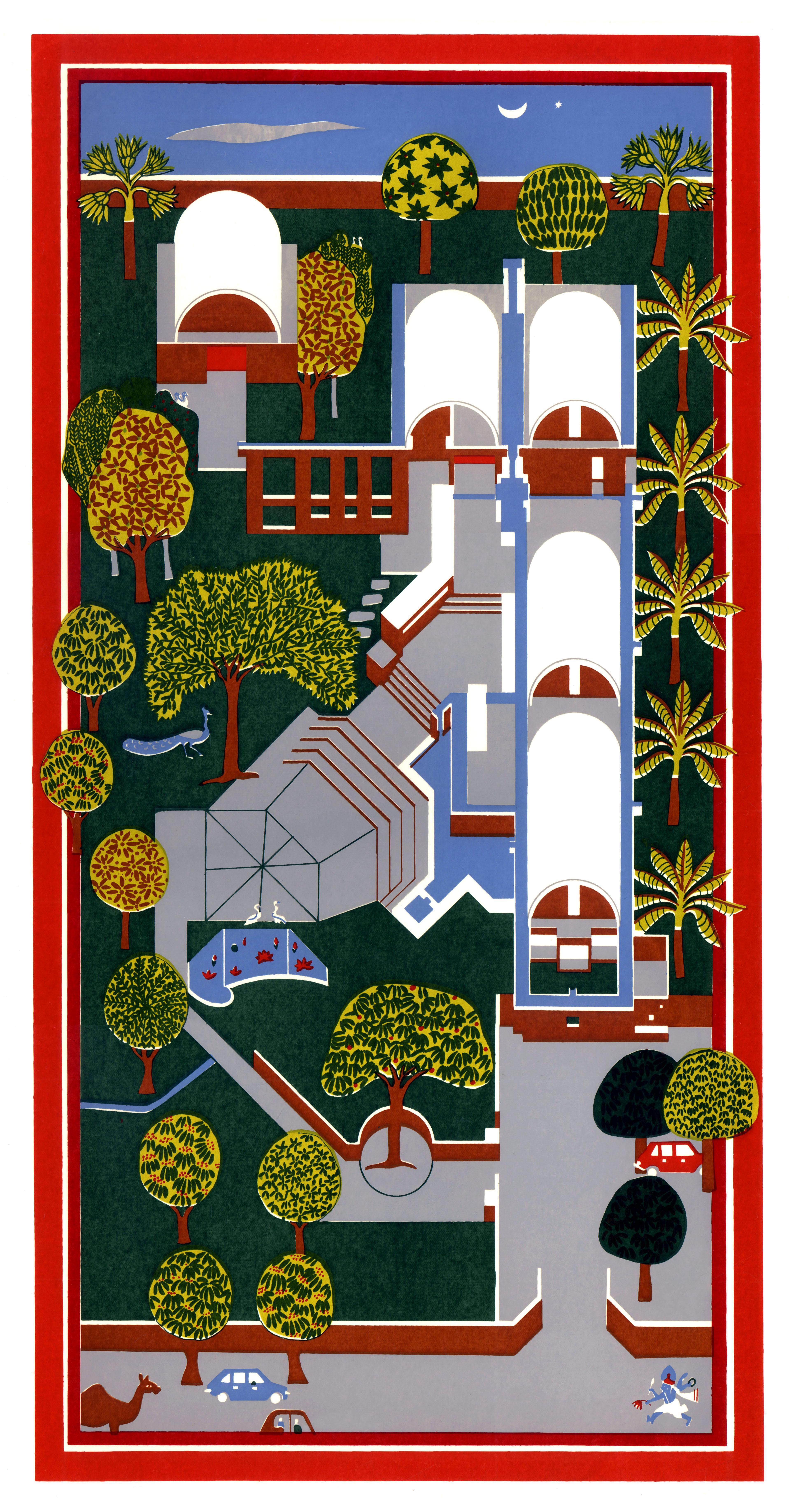 <p>Sangath Architect's Studio (1980) in Ahmedabad door Balkrishna Doshi, winnaar Pritzker Prize 2018, beeld VSF</p>