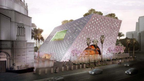 OMA breidt Joodse tempel in LA uit met schuin paviljoen