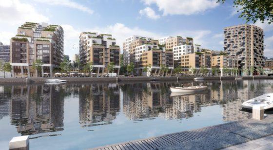 Vijf nieuwe gebouwen met 550 woningen in Laakhaven-West Den Haag