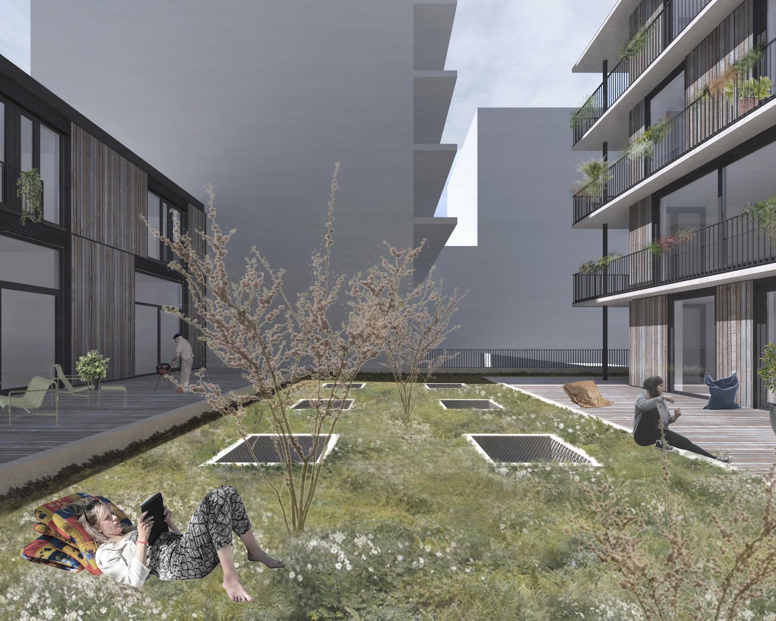 <p>Een collectieve daktuin boven een gedeelde parkeergarage zorgt voor een verbinding tussen de twee </p>