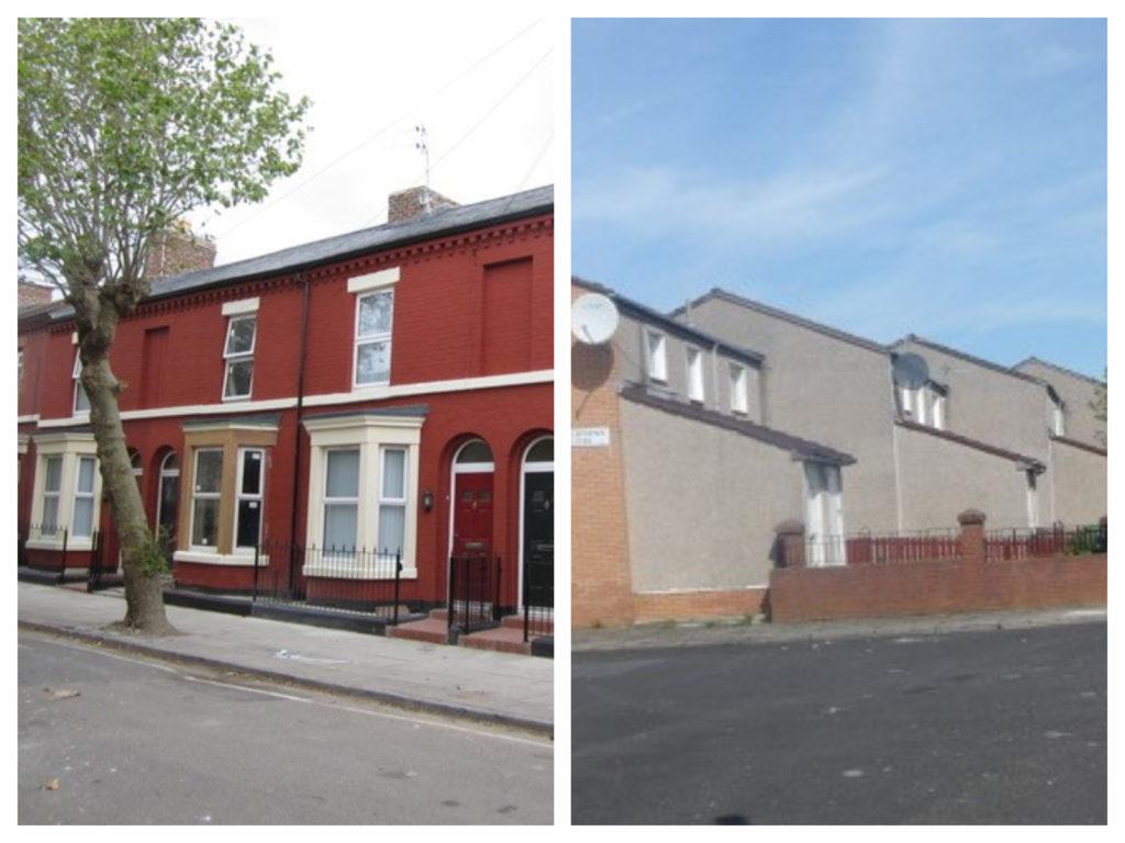 Gerenoveerde woningen in Granby4Streets vs door de overheid ontwikkeld suburbaan alternatief ten noorden van G4S, beeld Els Leclercq