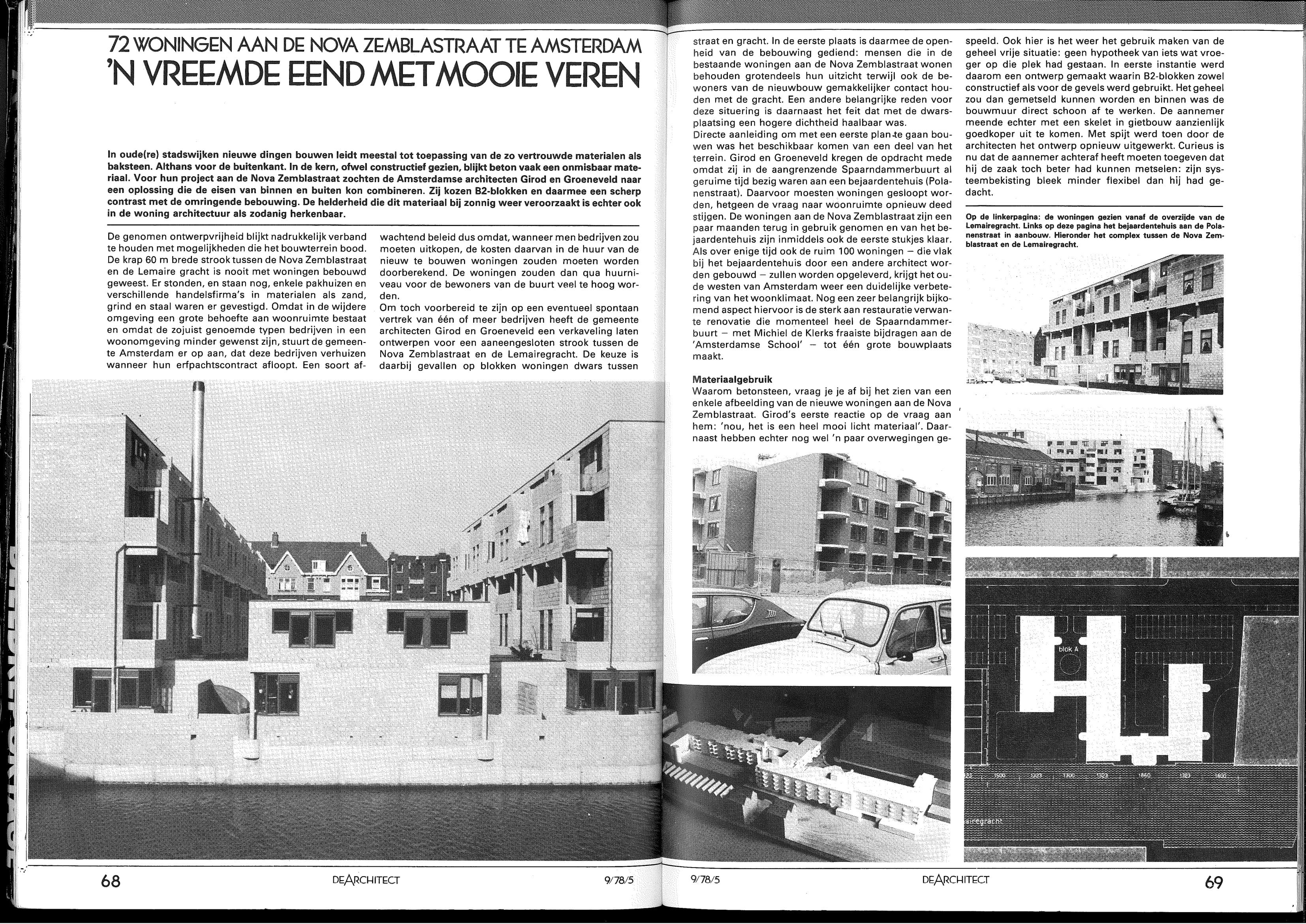 <p>72 woningen aan de Nova Zemblastraat Amsterdam door Girod en Groeneveld, door Cees Zwinkels</p>