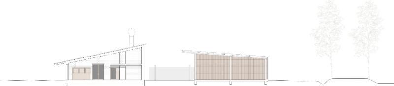 Twee gebouwen die scharnieren ten opzichte van elkaar onder een hellen dak. Beeld Studio Thys Vermeulen