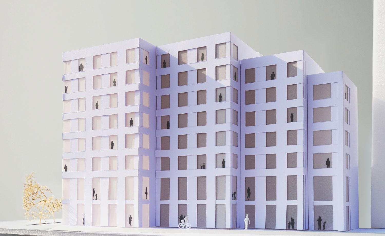 Maquette appartementen Oostenburgereiland door Architectuur MAKEN