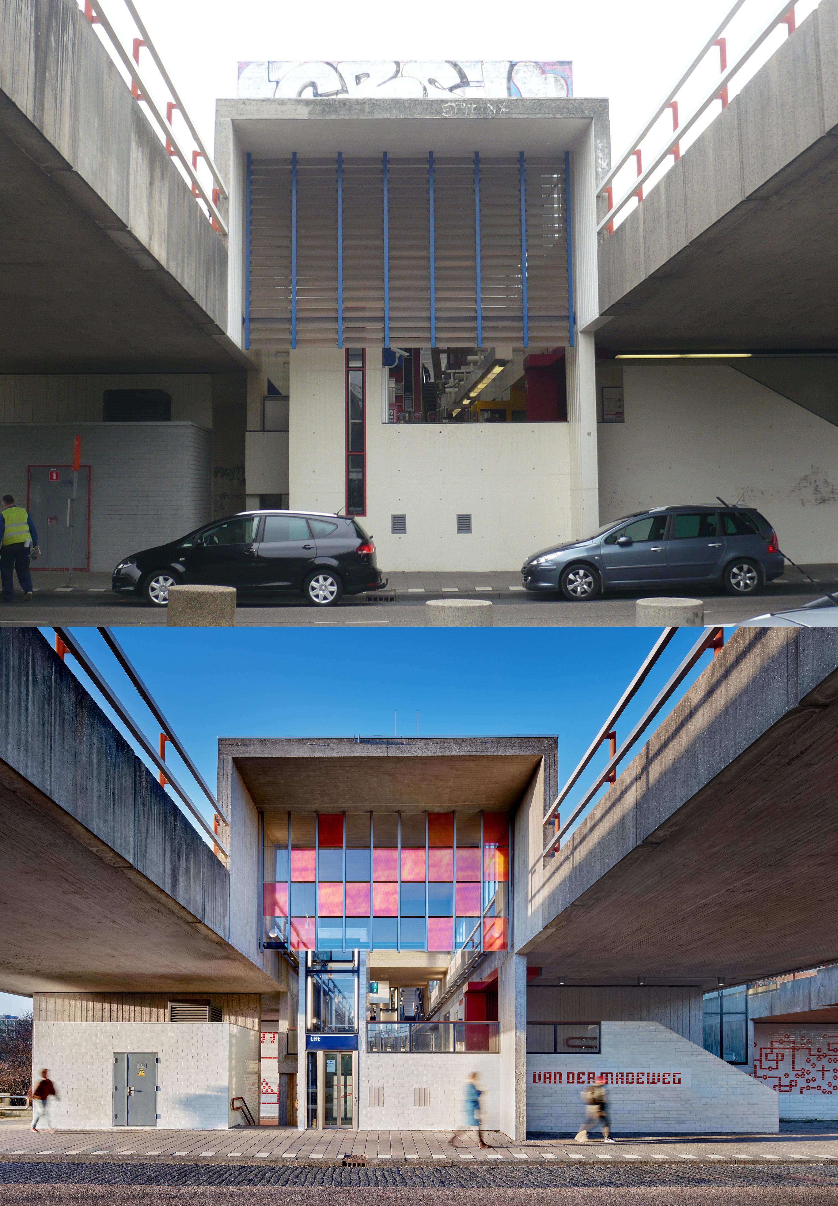 <p>Oude situatie | Nieuwe situatie (Entree Station Van der Madeweg.) fotograaf nieuwe situatie: Digidaan</p>