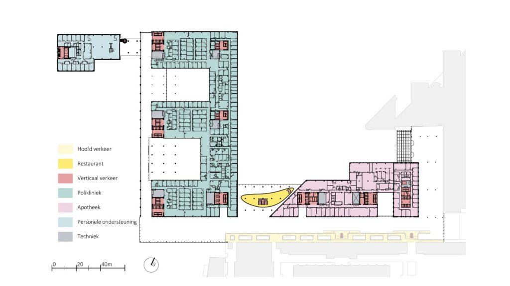 Erasmus Medisch centrum Rotterdam door EGM Architecten. Tweede verdieping 1:2000