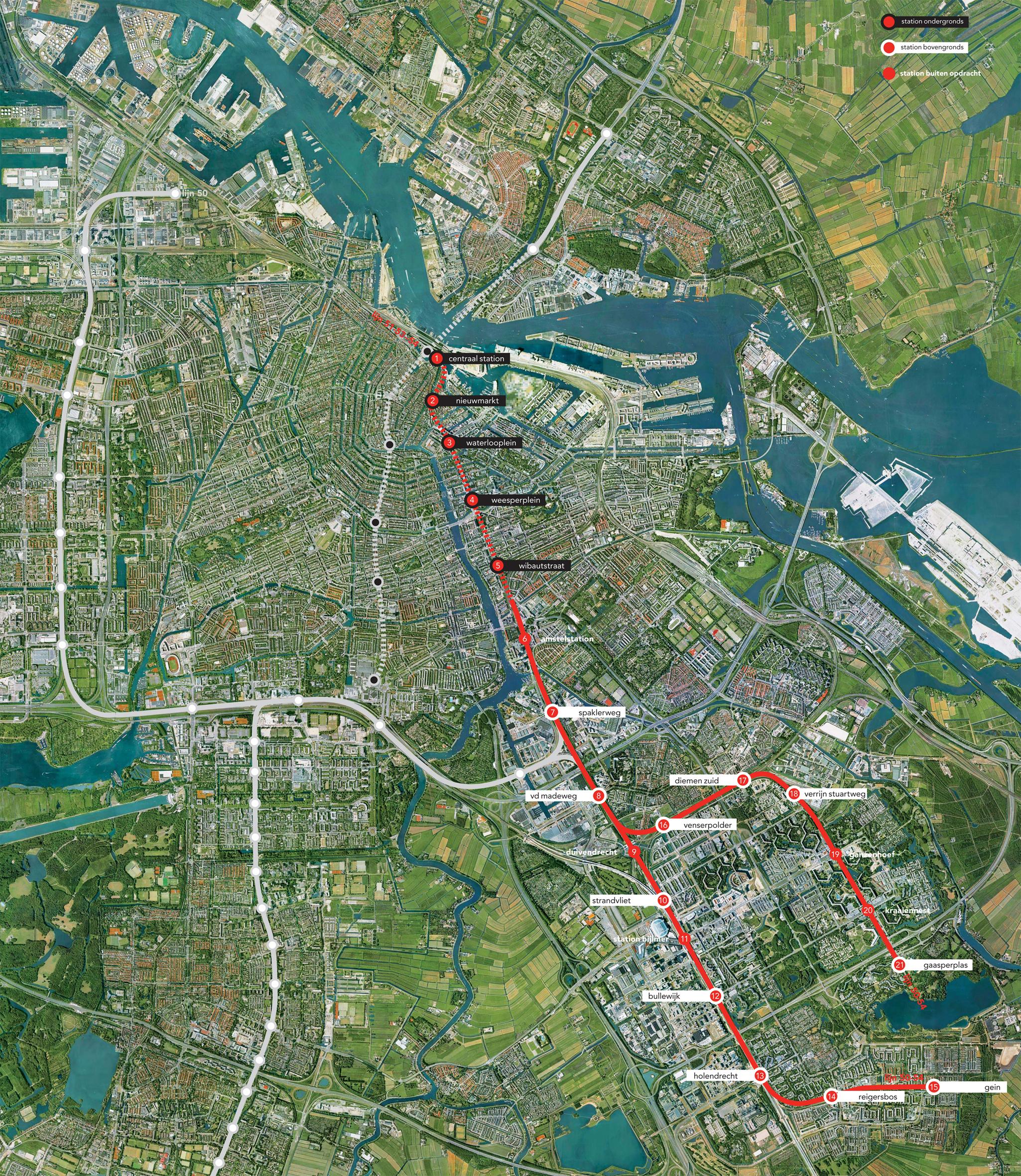 <p>Kaart Metro Oostlijn, Amsterdam. (Overzicht)</p>