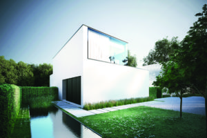 Design gevelbekleding als sluitstuk van strak zwart-wit ontwerp
