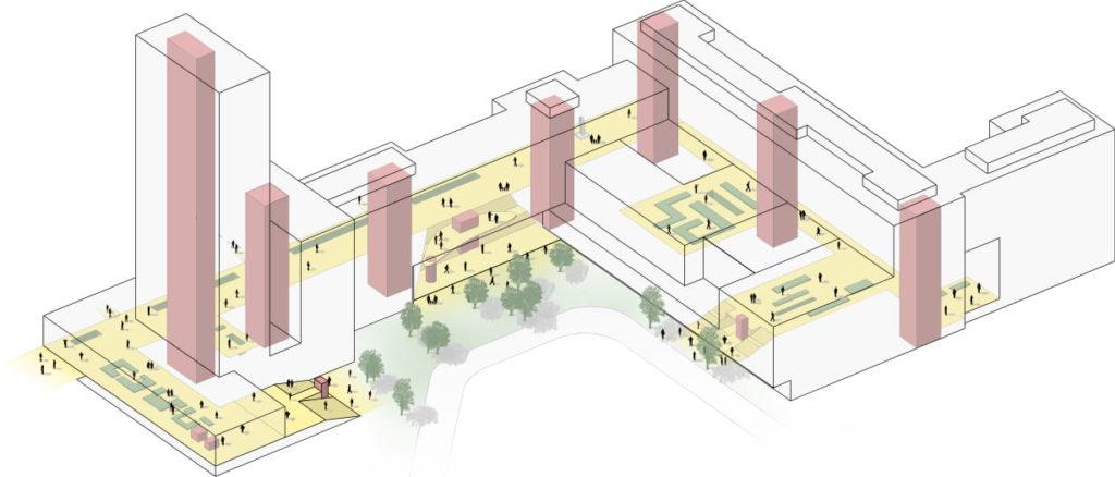 Erasmus Medisch centrum Rotterdam door EGM Architecten. Axonometrie