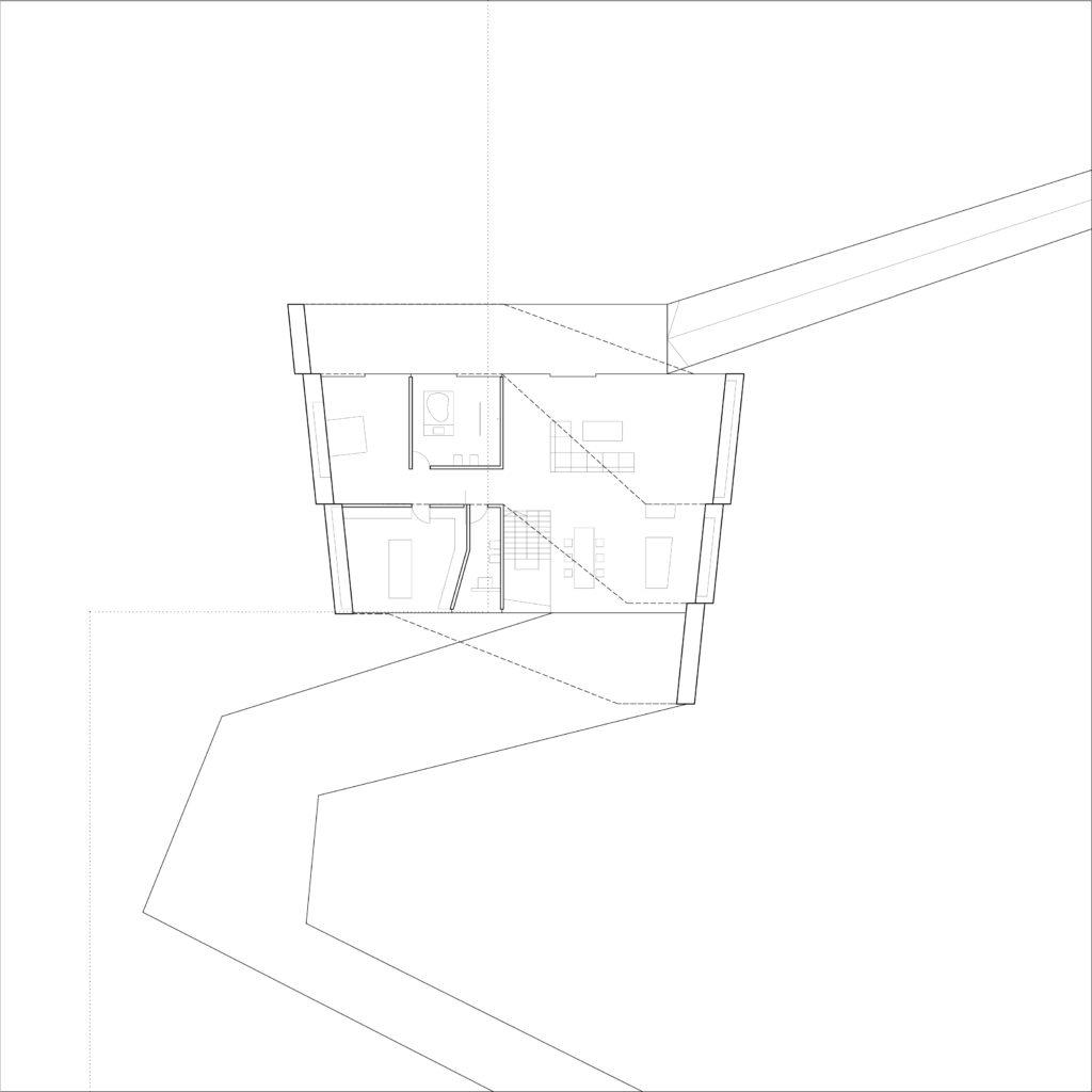 Eerste verdieping, Begane Grond, By The Way House, Polen - Robert Konieczny - KWK Promes team