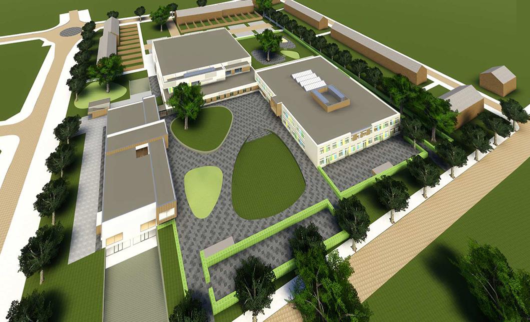 <p>Overview plangebied met jongerencentrum, sporthal en onderwijsebouw</p>