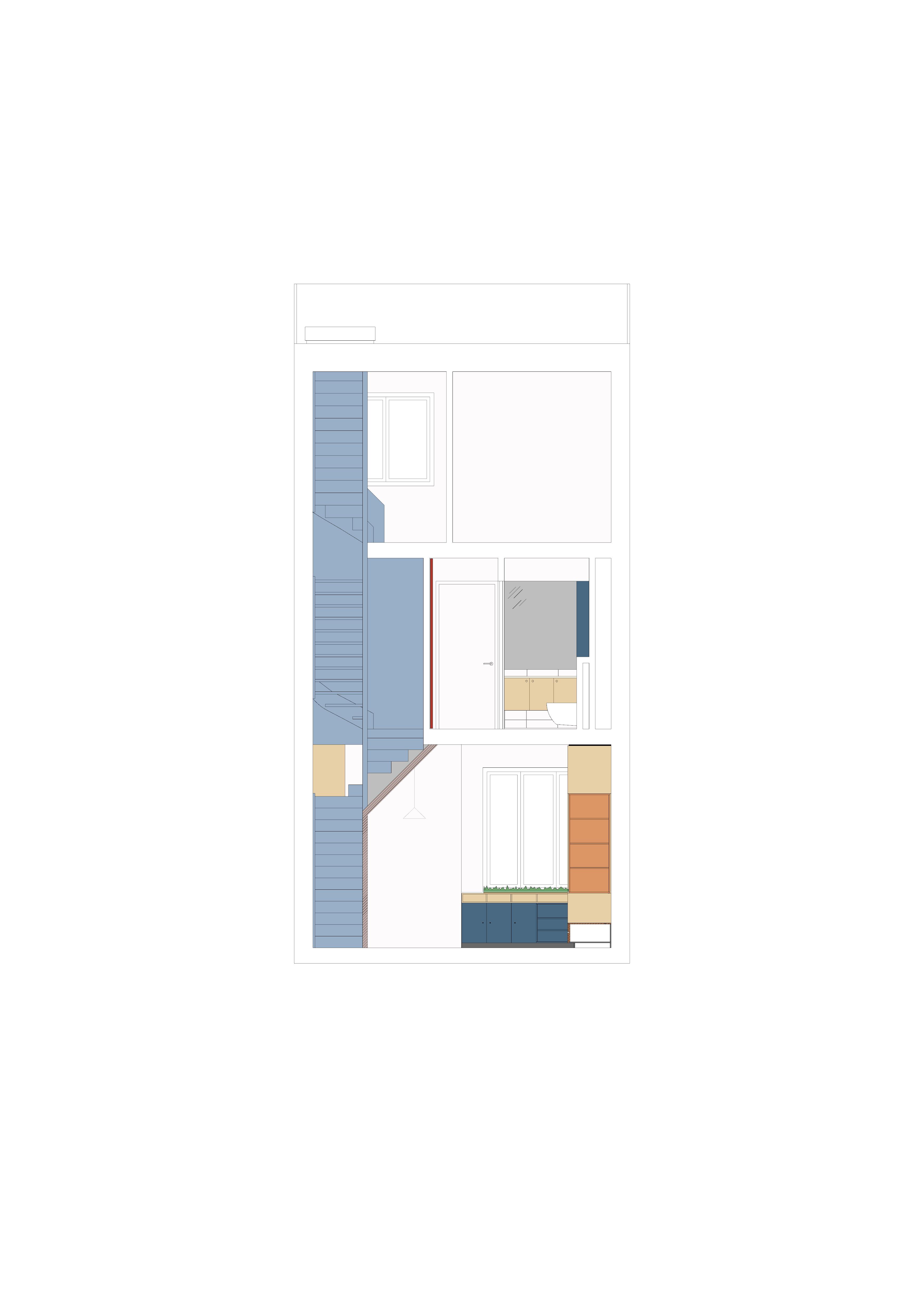 <p>Dwarsdoorsnede over het trappenhuis en de kern van de woning</p>