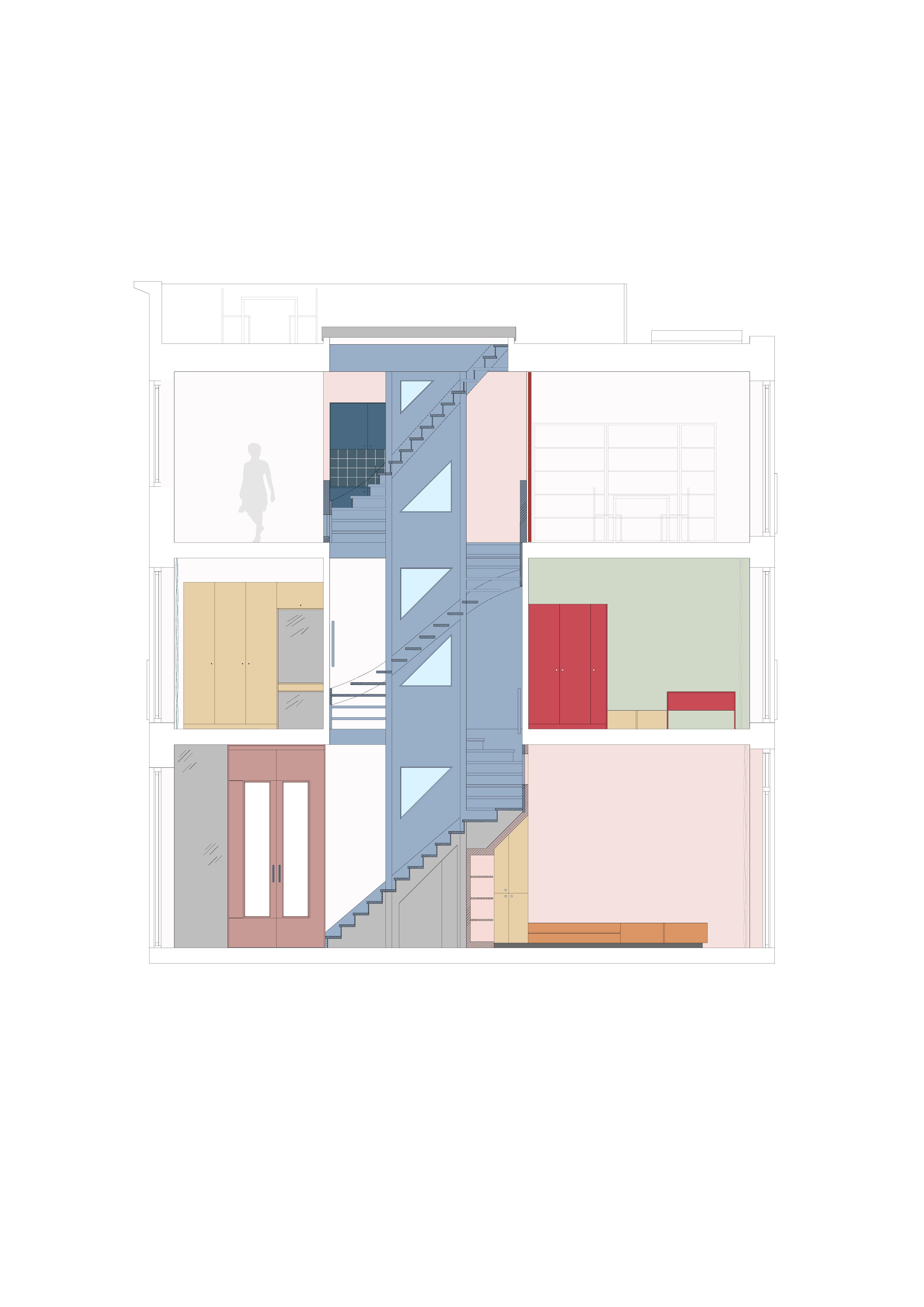 <p>Langsdoorsnede over het trappenhuis als verbindend element</p>