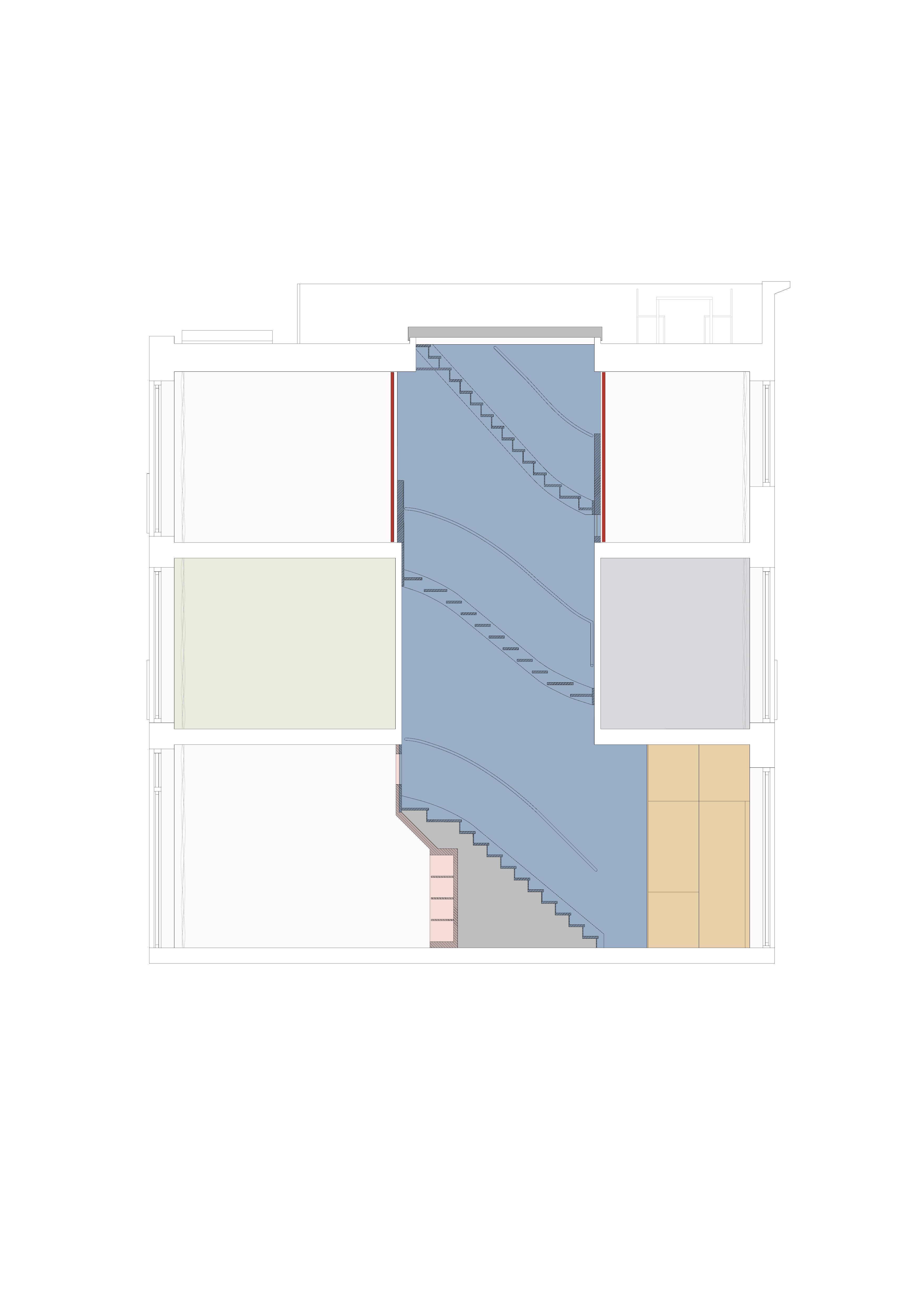 <p>Langsdoorsnede over het blauwe trappenhuis</p>