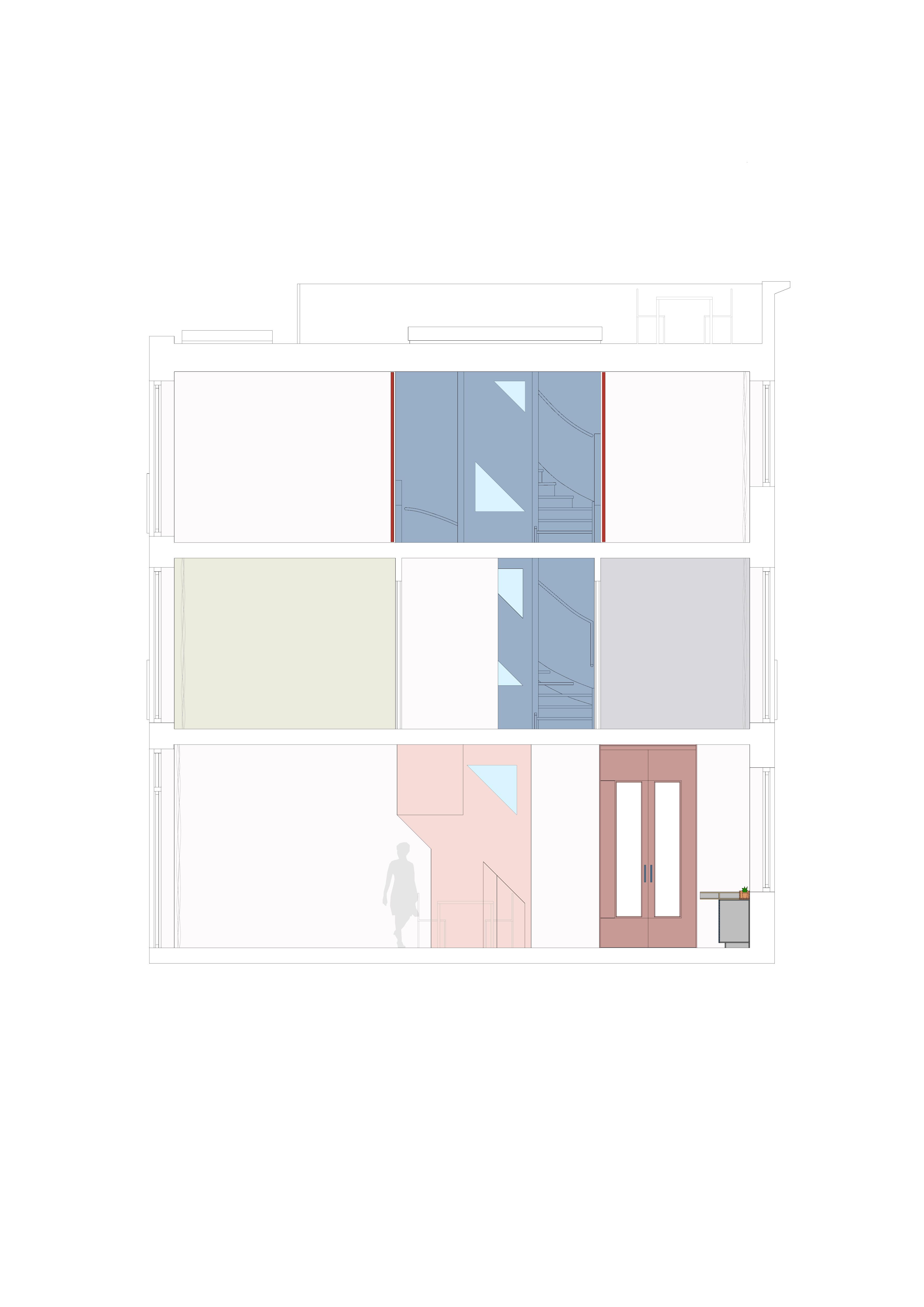 <p>Langsdoorsnede over het hart van de woning met het sculpturale trappenhuis in aanzicht</p>